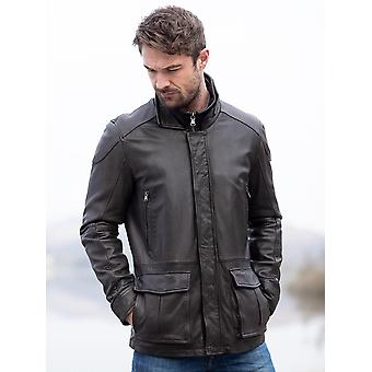 Johnno Leather Coat in Chocolate Brown