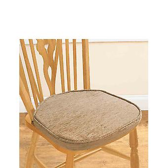 Chums Chenille Plain Dining Seat Pads Pack Of Two