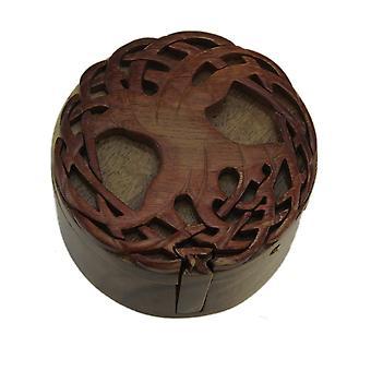 凯尔特人的生命之树手工制作木制亭节盒