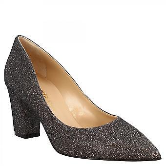 ليوناردو أحذية المرأة اليدوية وأشار إصبع القدم منتصف الكعب غالاكسي مضخات الأحذية في النسيج الرمادي