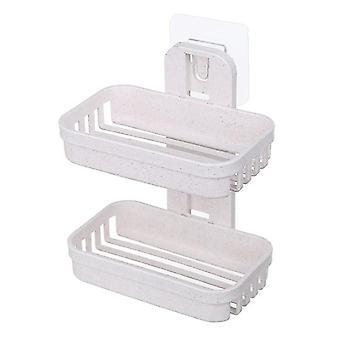 2Pcs beige double soap dishes box,wall zeep holder shower soap tray holder for bathroom az17843