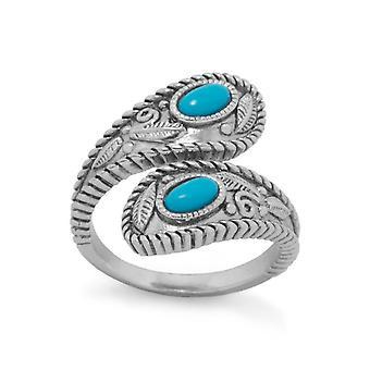 925 Sterling Silver Rhodium Pokovované tyrkysový zábal krúžok má 2 jednotlivé simulované kamene meria 3m šperky darčeky pre W