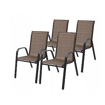 Set di sedie da giardino da 4 – Sedia da coperta in metallo Marrone – 56 x 65 x 90 cm