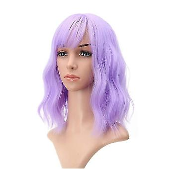 Women Curly Wavy Short Wigs For Halloween Cosplay(Purple)