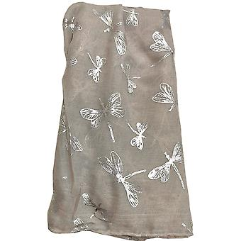 Grey Metallic Dragonfly Scarf by Butterfly Fashion London