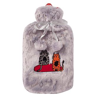 Bouteille d'eau chaude Biggdesign avec housse en peluche souple, 68 OZ / 2L Grand sac d'eau chaude lavable pour les crampes, les douleurs au cou et au dos, les pieds et les épaules (gris)