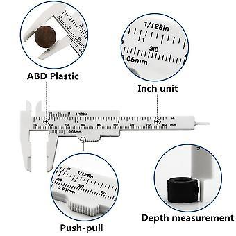 80Mm mini plast glidande vernier caliper gauge mäta verktyg linjal mikrometer handverktyg
