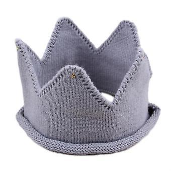 Children Crown Shape Visor Cap Birthday Hat Woolen Hat(Gray)