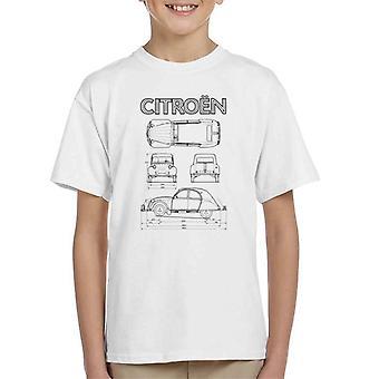 Citroen 2CV Svart diagram visar kid's T-shirt