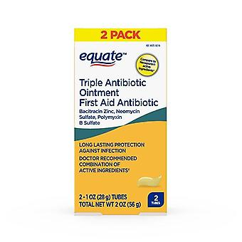 Equate First Aid Triple Antibiotic Ointment, Infection Protection, 2 oz, 2 Pack