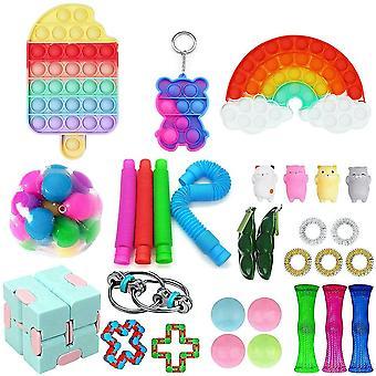 30pcs Magic Cube Anxiety Relief Toys Set Push Pop Bubble Sensory Fidget Toy