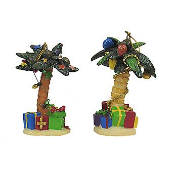 Kurt Adler Palm Trees Decorated for Holidays  Resin Ornaments Set of 2