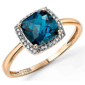 Oro 9ct topazio e diamante anello blu