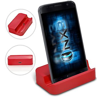 Samsung Galaxy J5 Desktop USB Base Stand Data Sync Charging Dock Station (Red)