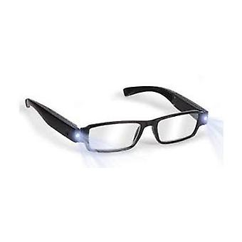 Boolavard® TM Black LED Reading Glasses-presbyopic glasses with LED light Power/Diopter; +2.0
