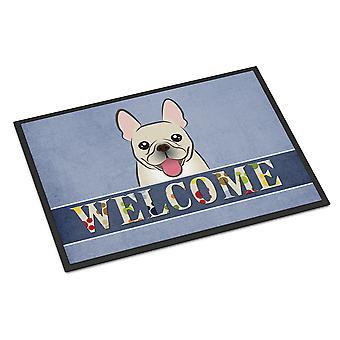 Fransk Bulldog velkommen innendørs eller utendørs Mat 18 x 27