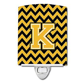 Letter K Chevron Black and Gold Ceramic Night Light