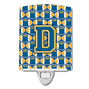 Letter D Football Blue and Gold Ceramic Night Light