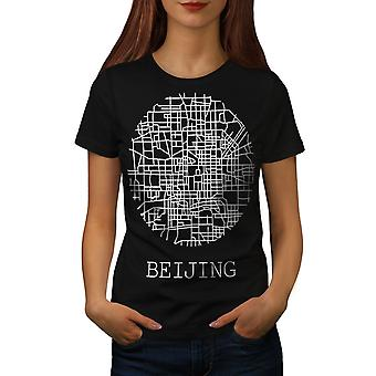 Beijing City Map Fashion Women BlackT-shirt | Wellcoda
