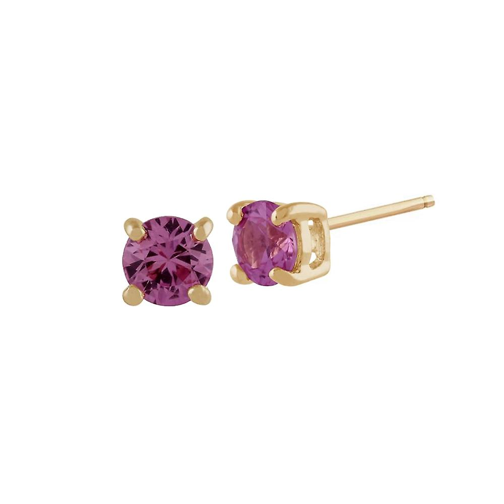 Gemondo Pink Sapphire Round Stud Earrings In 9ct Yellow Gold 3.50mm Claw Set