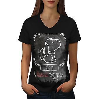 I Love My Pet Cute Dog Women BlackV-Neck T-shirt | Wellcoda
