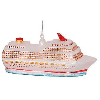 Cruise Ship Sail Away Christmas Holiday Ornament Glass