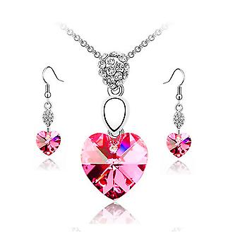 Womens Hot Pink Crystal Heart Pendant Necklace And Earrings Set