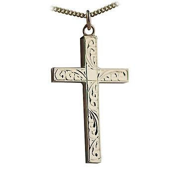 9ct Gold 40x25mm hand engraved solid block Cross with a curb Chain 24 inches