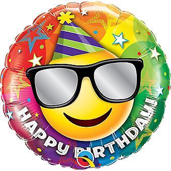 Folienballon Happy Birthday Smiley Sonnenbrille Geburtstag circa 45cm