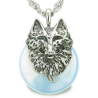 Amulett Wolf Kopf Mut Schutz Kräfte Glück Donut Opalite Anhänger Halskette