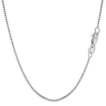 Caja de espejo oro sólido blanco 14 k collar de cadena, 1.0mm