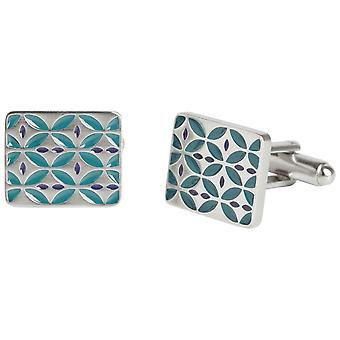 Simon Carter West End Retro Enamel Cufflinks - Silver/Teal