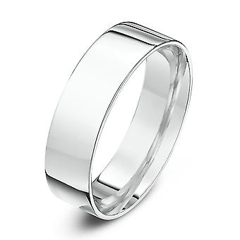 Star Wedding Rings 18ct White Gold Light Flat Court Shape 6mm Wedding Ring