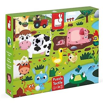 Janod Tactile Jigsaw Puzzle Farm Animals 3-6yrs