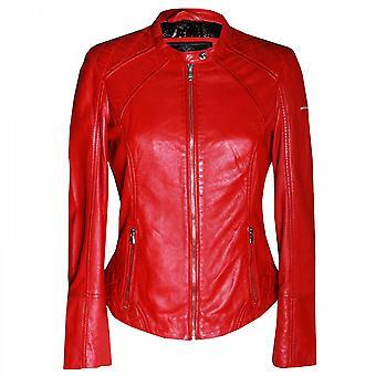 Rino & Pelle féminin veste de cuir rouge manches longues