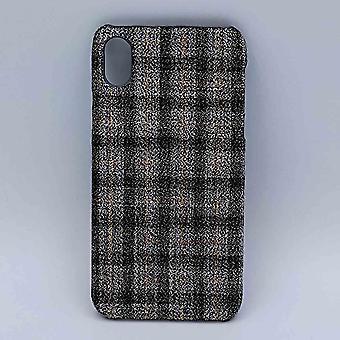 iPhone XR-pochette-tissu-Tartan-gris