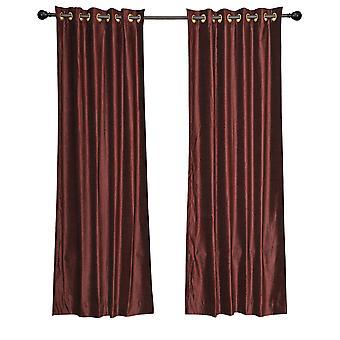 Luxury Set of 2 Wine Velvet Grommet Curtain Panels Drapes with 2 matching tiebacks