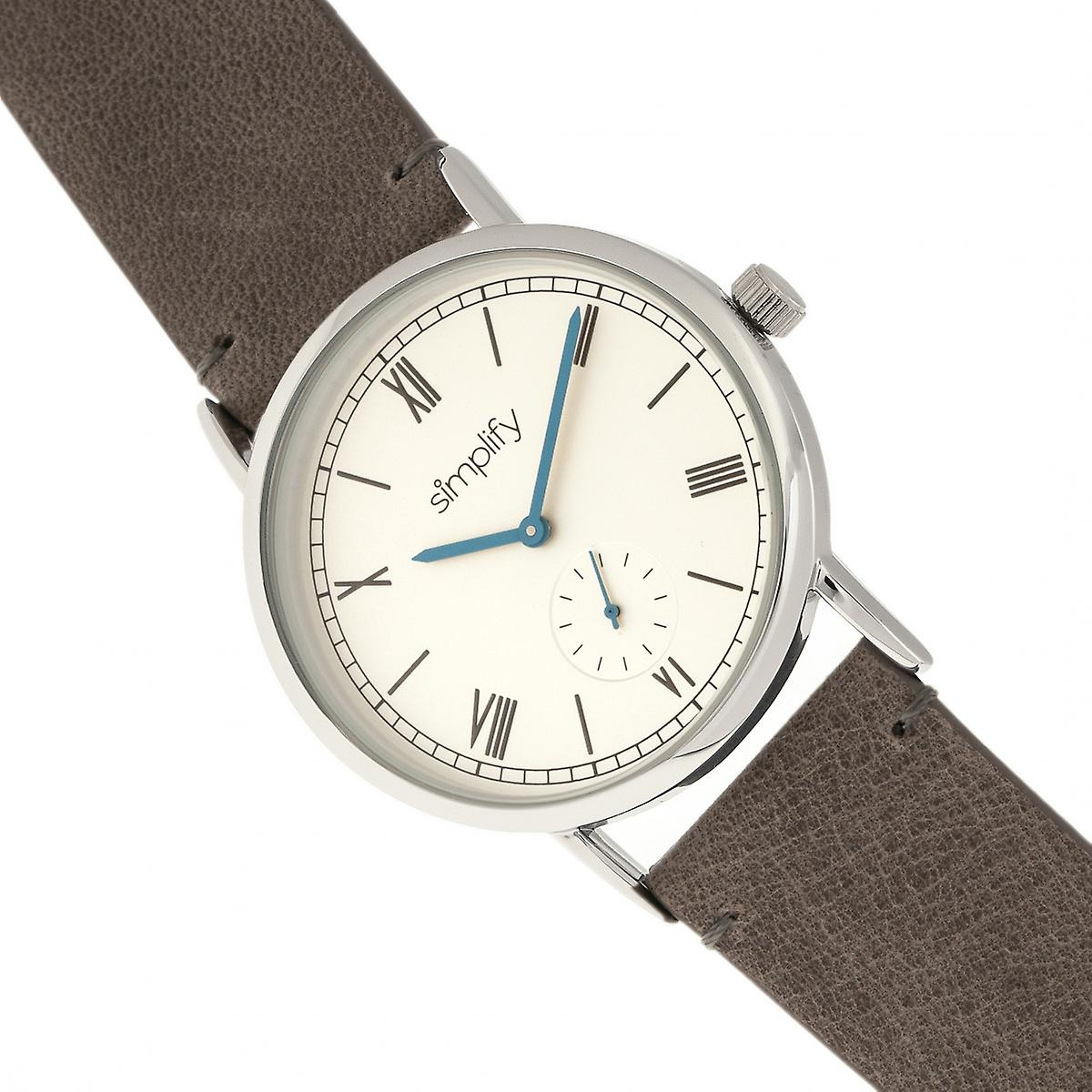 Simplify The 5100 Leather-Band Watch - Charcoal/White
