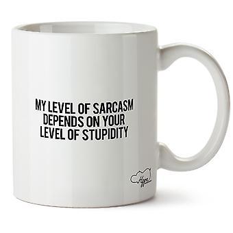 Hippowarehouse il mio livello di sarcasmo dipende dal tuo livello di stupidità stampato Mug tazza ceramica 10oz