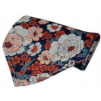 Posh og Dandy Floral silke tørklæde - Navy/Orange