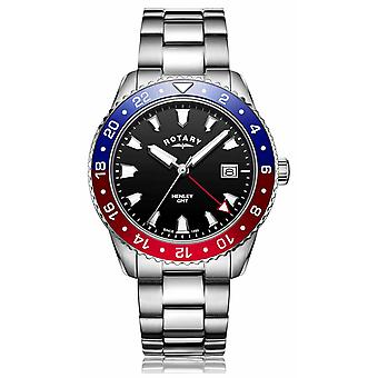 Rotária | Gents bracelete em aço inoxidável | Black Dial | Relógio GB05108/30
