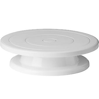 Circular plástico 28cm/11 pulgadas torta decoración de plato - blanco