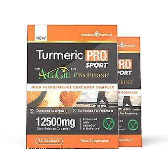 Kurkuma Pro SPORT met AstraGin plus BioPerine 12, 500 mg 95% curcuminoïden-120 capsules (2 maanden)-hersenen, hart-en gewrichts gezondheid-evolution Slimming