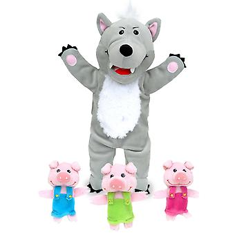 Store stygge ulven & 3 Little Pigs Tellatale hånddukke