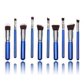 10 stk. blå/sølv sminke/makeup børster av beste kvalitet