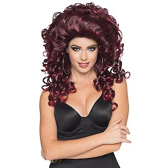Jersey Gail Burgundy 1980s Disco Bad Girl Hair Women Costume Wig