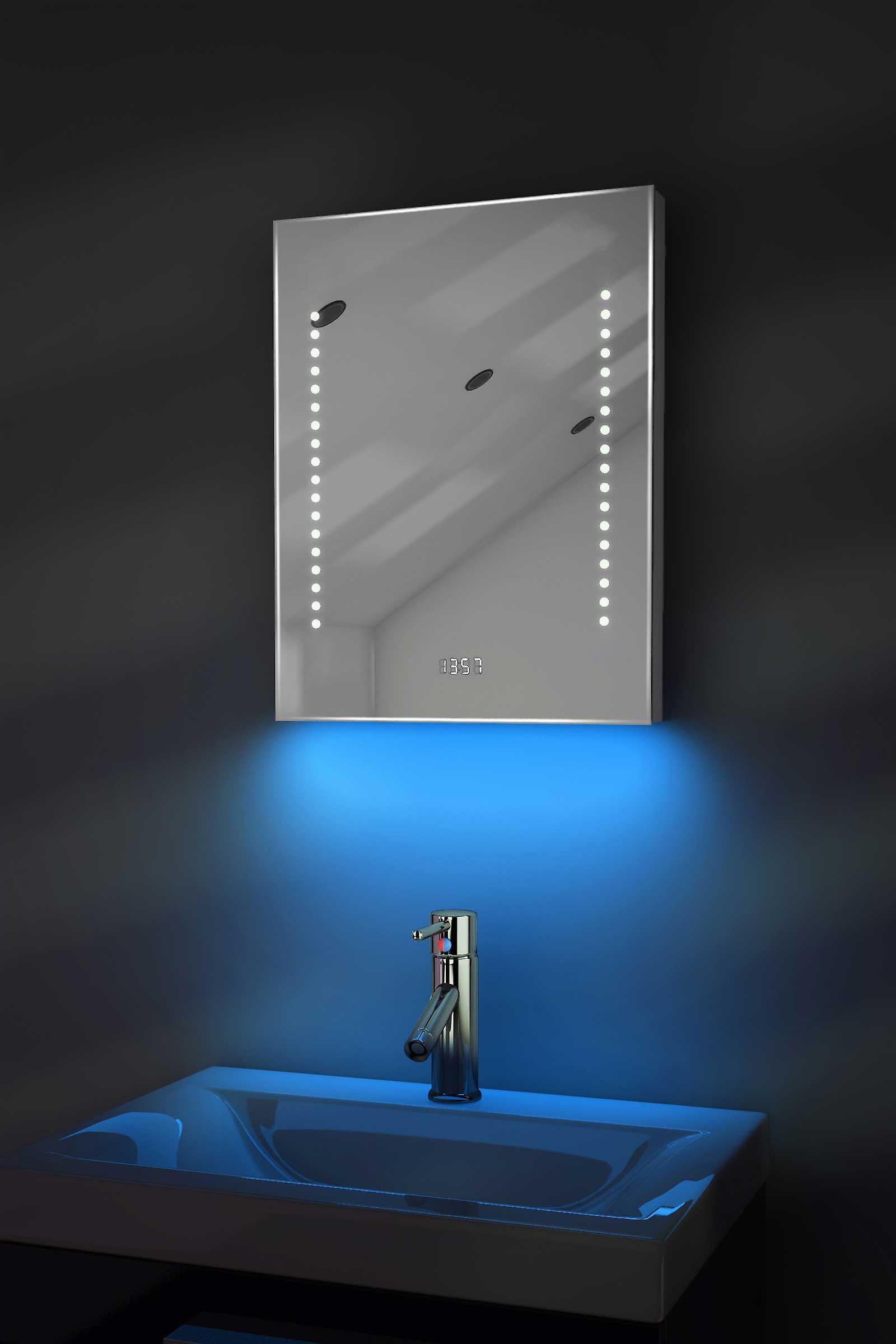 Digital Clock Mirror Slim avec RGB éclairage, désembuage et capteur k188rgb