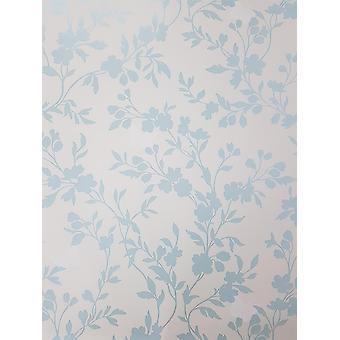 Ente Ei blau weiß Metallic Floral Wallpaper Blumen feine Dekor Saskia