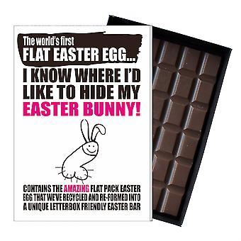 Śmieszne płaskie Easter Egg czekolada bar powitanie karty prezent kobiety Girlfriend żona UK EIYF130