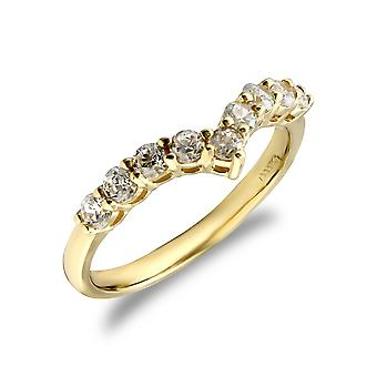 Jewelco London Ladies Solid 9ct Yellow Gold White Round Brilliant Cubic Zirconia Wishbone Eternity Ring